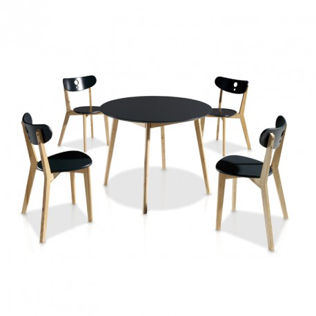 Ensemble table chaises noir daia univers salle for Ensemble chaise et table