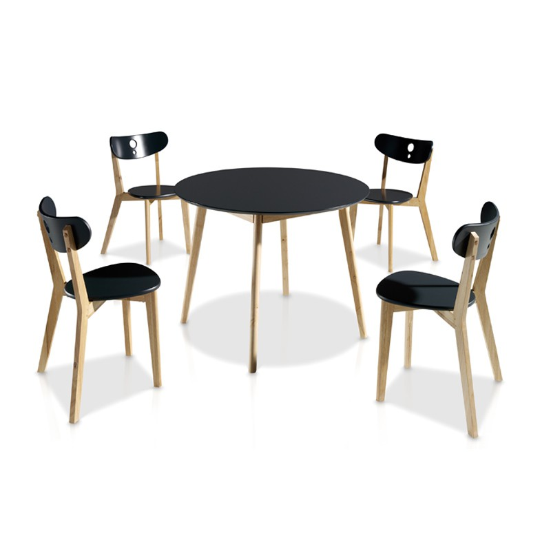 Ensemble table chaises noir daia univers salle manger tousmesmeubles - Ensemble chaise et table ...