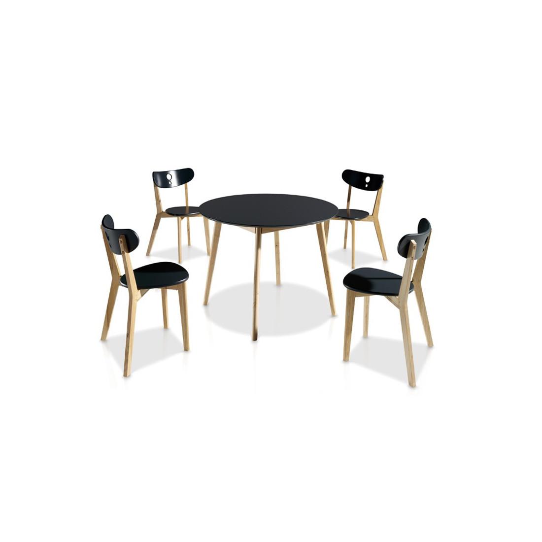 Ensemble table chaises noir daia univers salle for Ensemble table et chaise scandinave