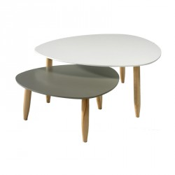 Tables basse salon meubles maison tousmesmeubles - Table basse ronde blanche pas cher ...