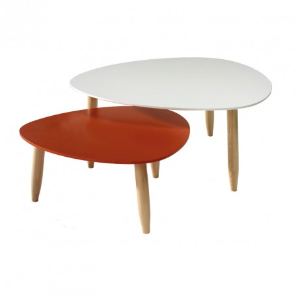 Tables gigognes Blanc/Rouge - OVNI