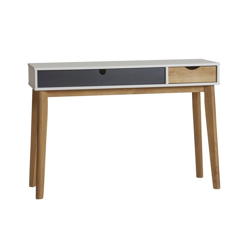 Bureau 2 tiroirs Gris/Blanc/Bois - COSMIT