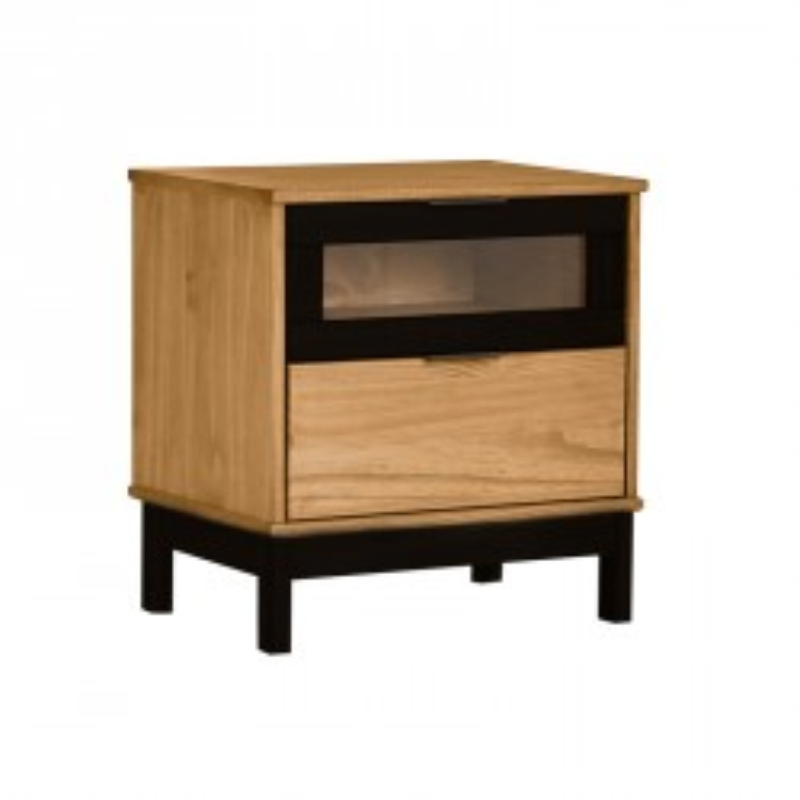 Table de chevet 2 tiroirs Bois/Noir - CHICA