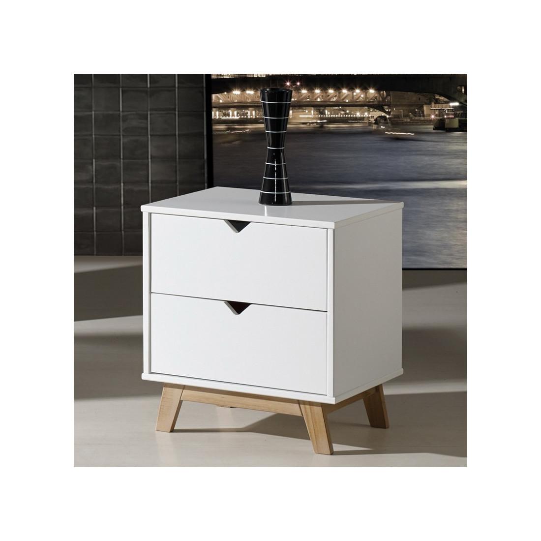 table de chevet 2 tiroirs blanc bois bucky univers de la. Black Bedroom Furniture Sets. Home Design Ideas