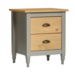 Table de chevet 2 tiroirs Gris/Bois - CHANE