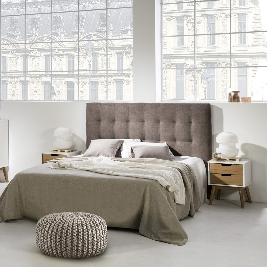 t te de lit moderne tissu gris en 165 cm univers de la. Black Bedroom Furniture Sets. Home Design Ideas