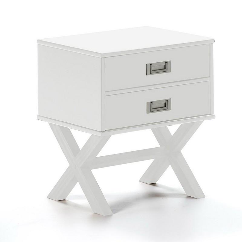 Table de chevet 2 tiroirs Blanc - RAPHY
