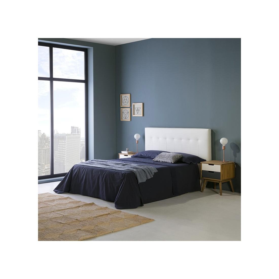 t te de lit simili cuir blanc 152 cm noano n 1 univers. Black Bedroom Furniture Sets. Home Design Ideas