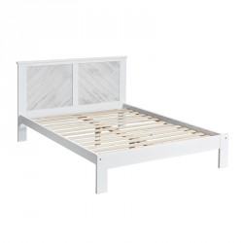 Cadre + Tête de lit 140*190 cm Blanc lavé - JUDAY