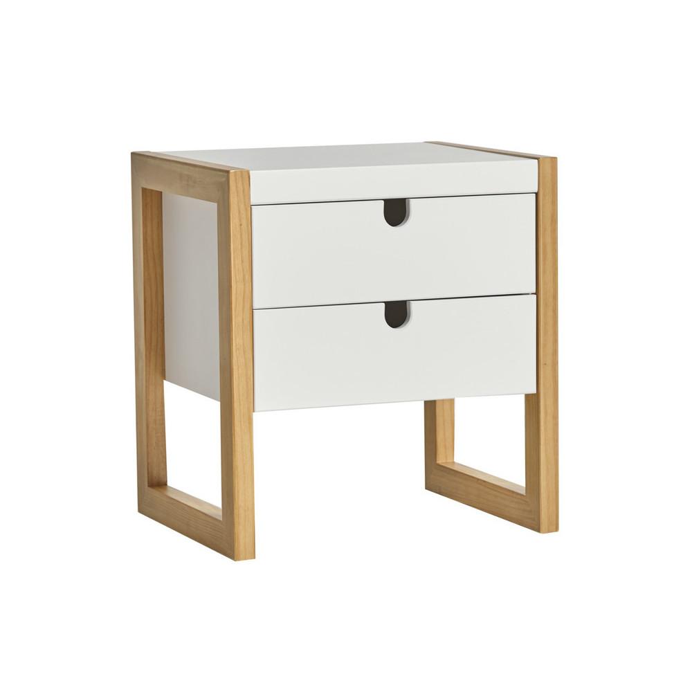 Table de chevet 2 tiroirs Blanc/Chêne - ODILE