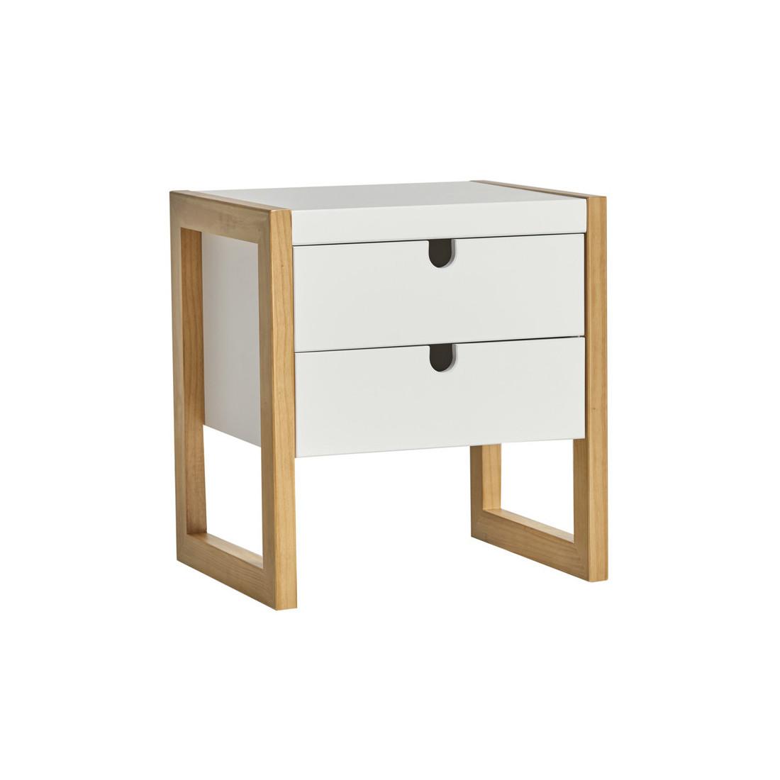 Table de chevet 2 tiroirs blanc ch ne odile univers de - Table de chevet chene clair ...