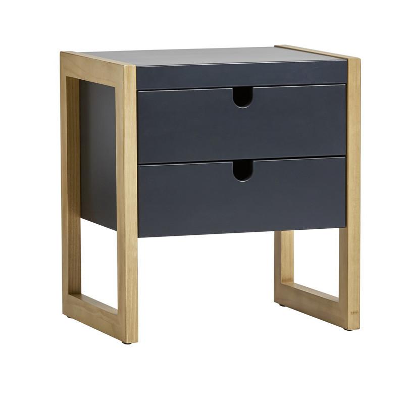 Table de chevet 2 tiroirs Gris/Chêne - ODILE