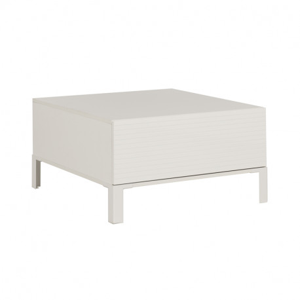 Table basse 1 tiroir bois brut blanc - Univers Salon : Tousmesmeubles