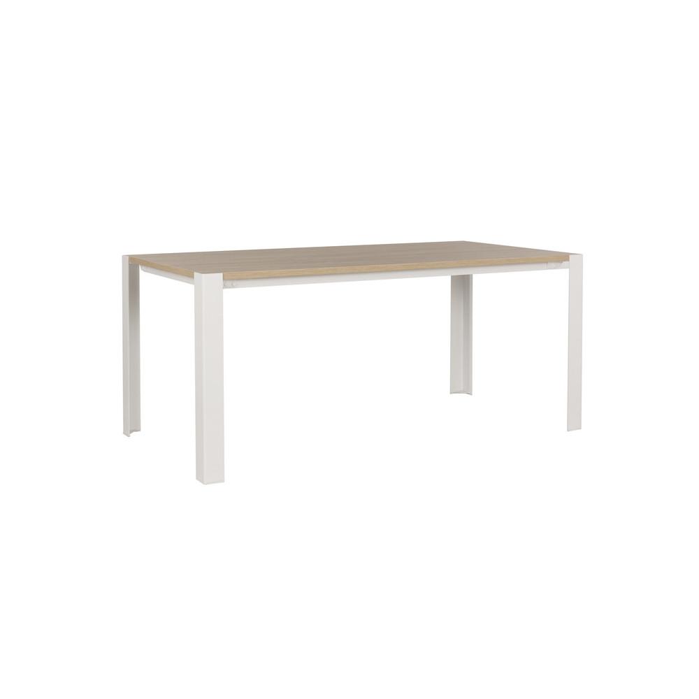 Table de repas rectangulaire métal blanc bois chêne moderne indus - Univers Salon : Tousmesmeubles