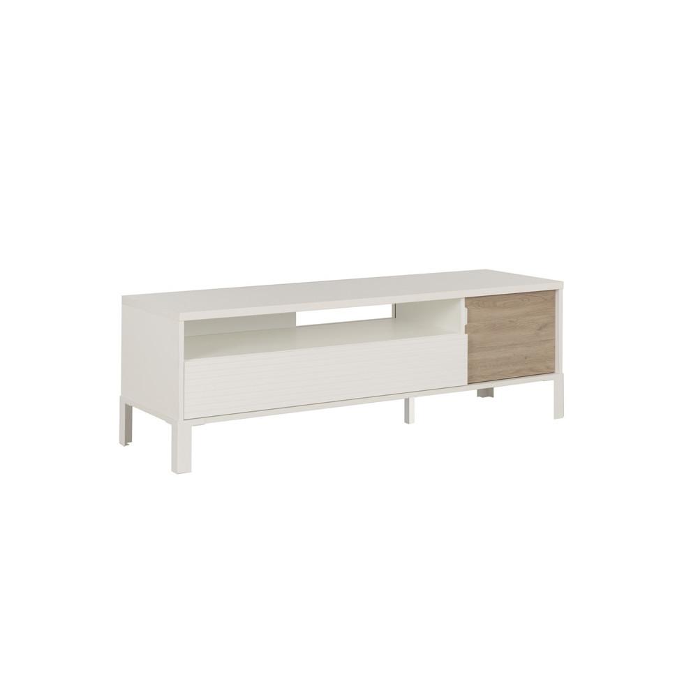 Meuble TV 1 porte 1 tiroir moderne indus bois blanc brut - Univers Salon : Tousmesmeubles
