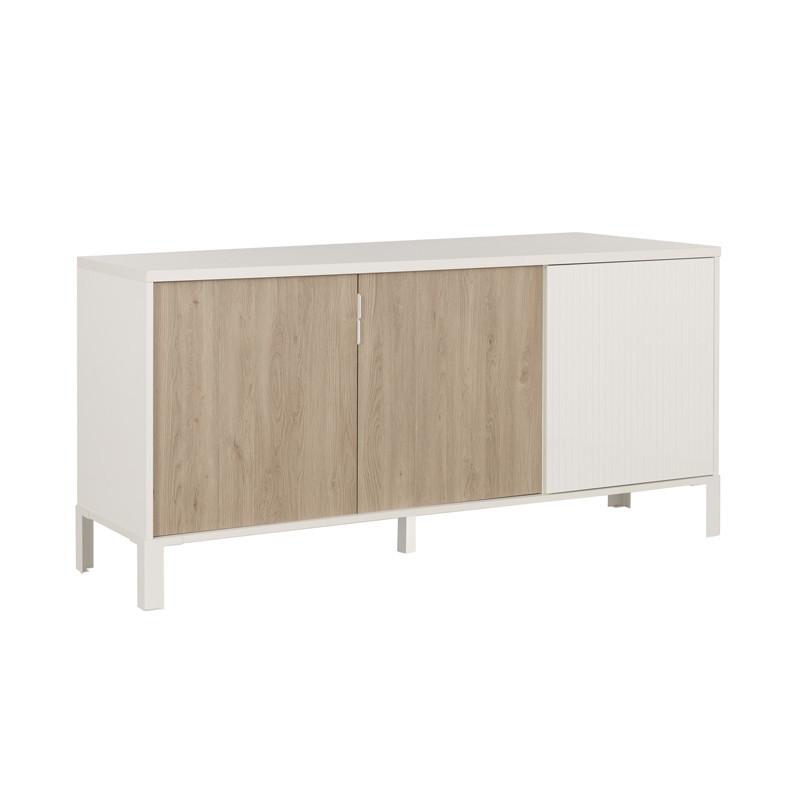 Buffet 3 portes indus moderne bois blanc brut - Univers Salle à Manger : Tousmesmeubles