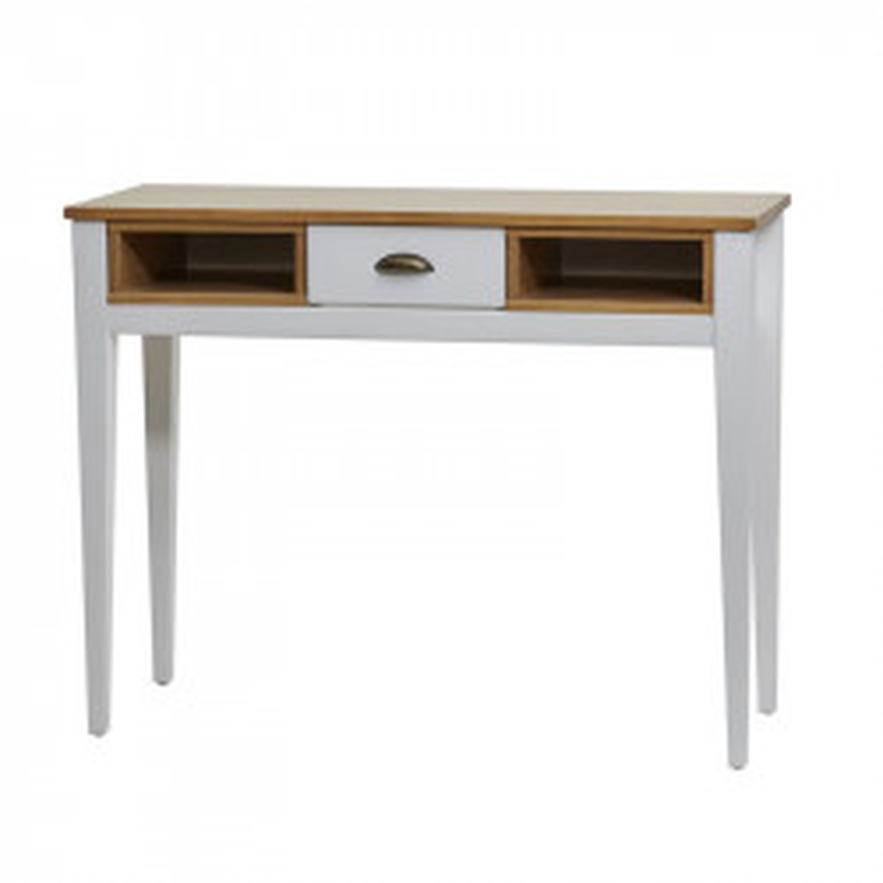 Console 1 tiroir Blanc/Bois - ANAELLE