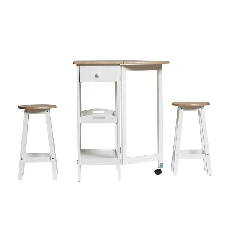 Table haute + 2 tabourets Blanc/Bois - FLAVIO