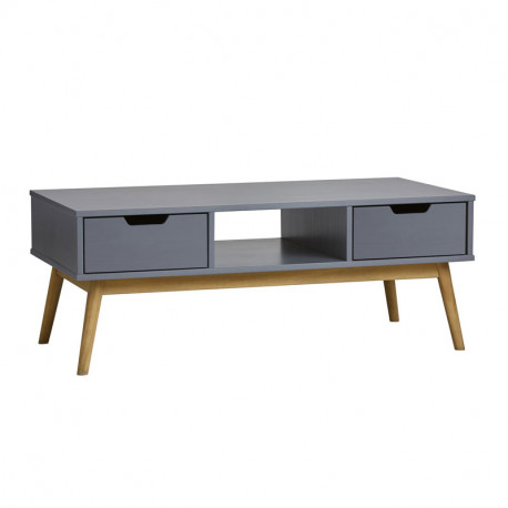 Table basse rectangulaire 2 tiroirs Gris - BASTOS