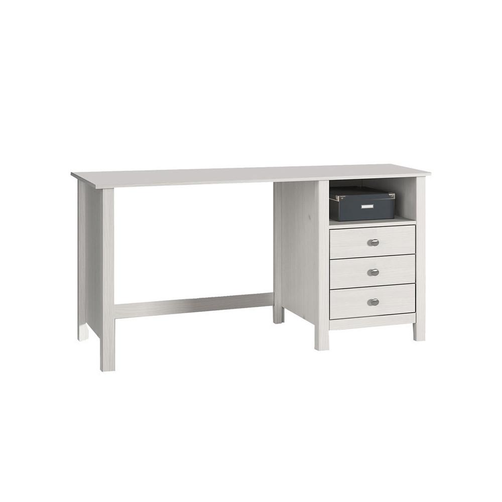 Bureau 3 tiroirs 1 niche Blanc - CHOUET