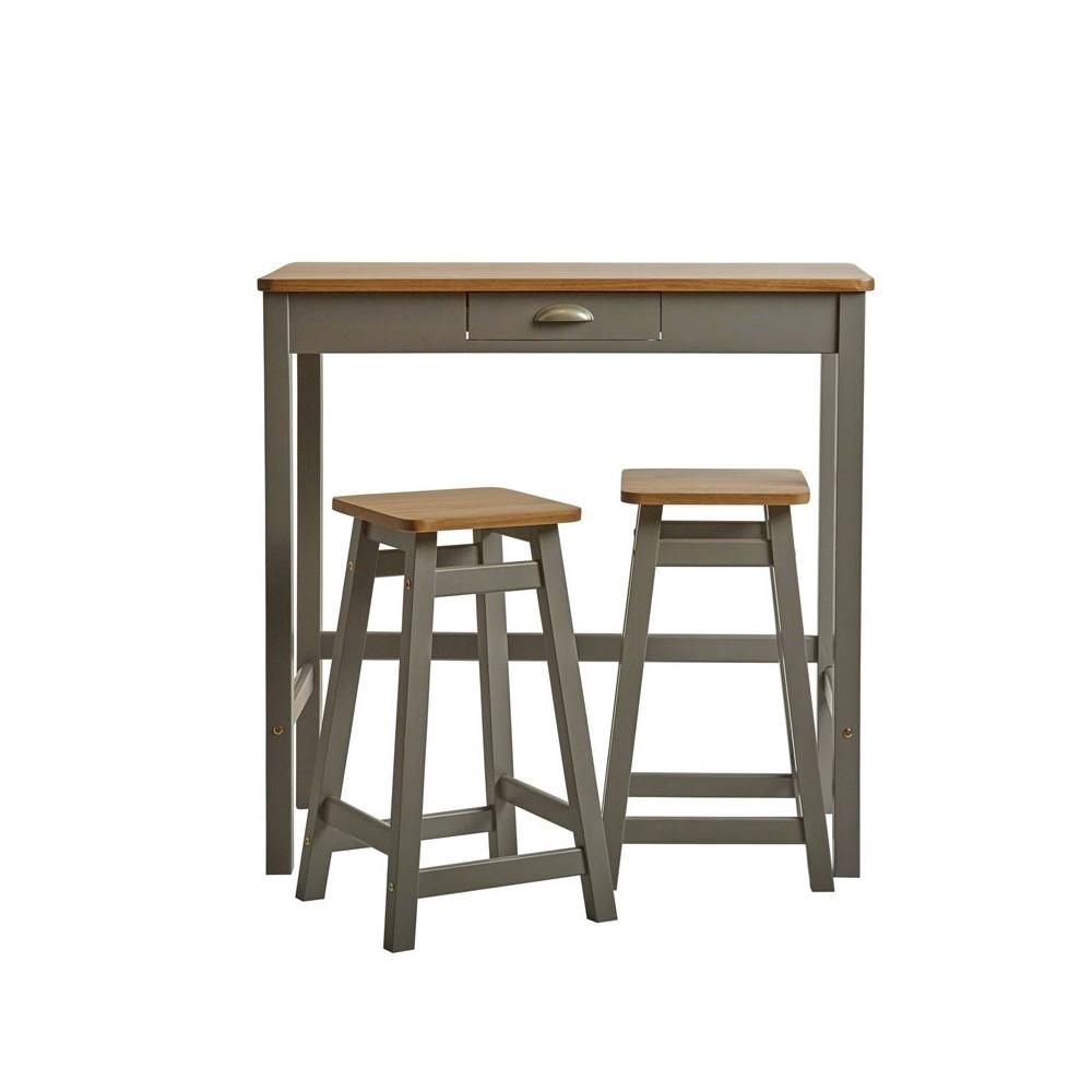 Table haute + 2 tabourets Gris/Bois - IZAT