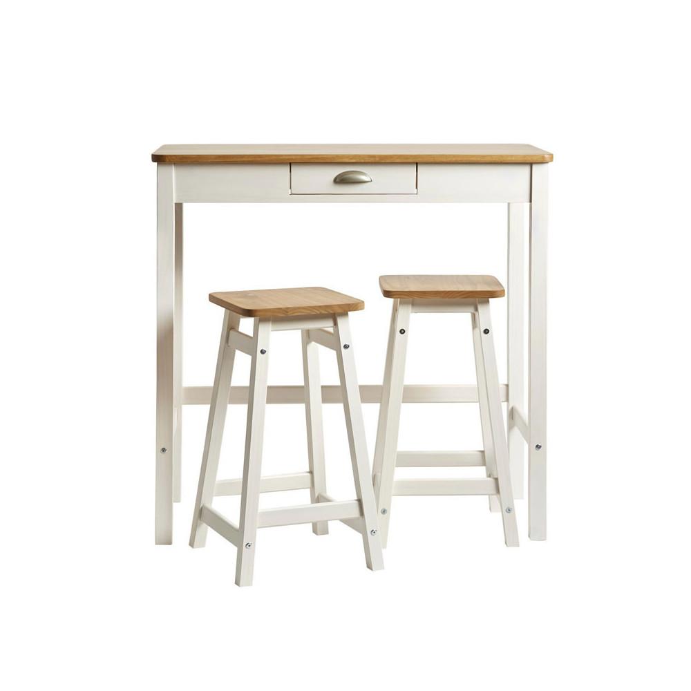 Table haute + 2 tabourets Blanc/Bois - IZAT