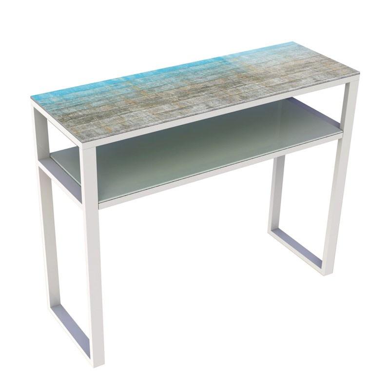 Console verre et métal Blanc mat - ORAE