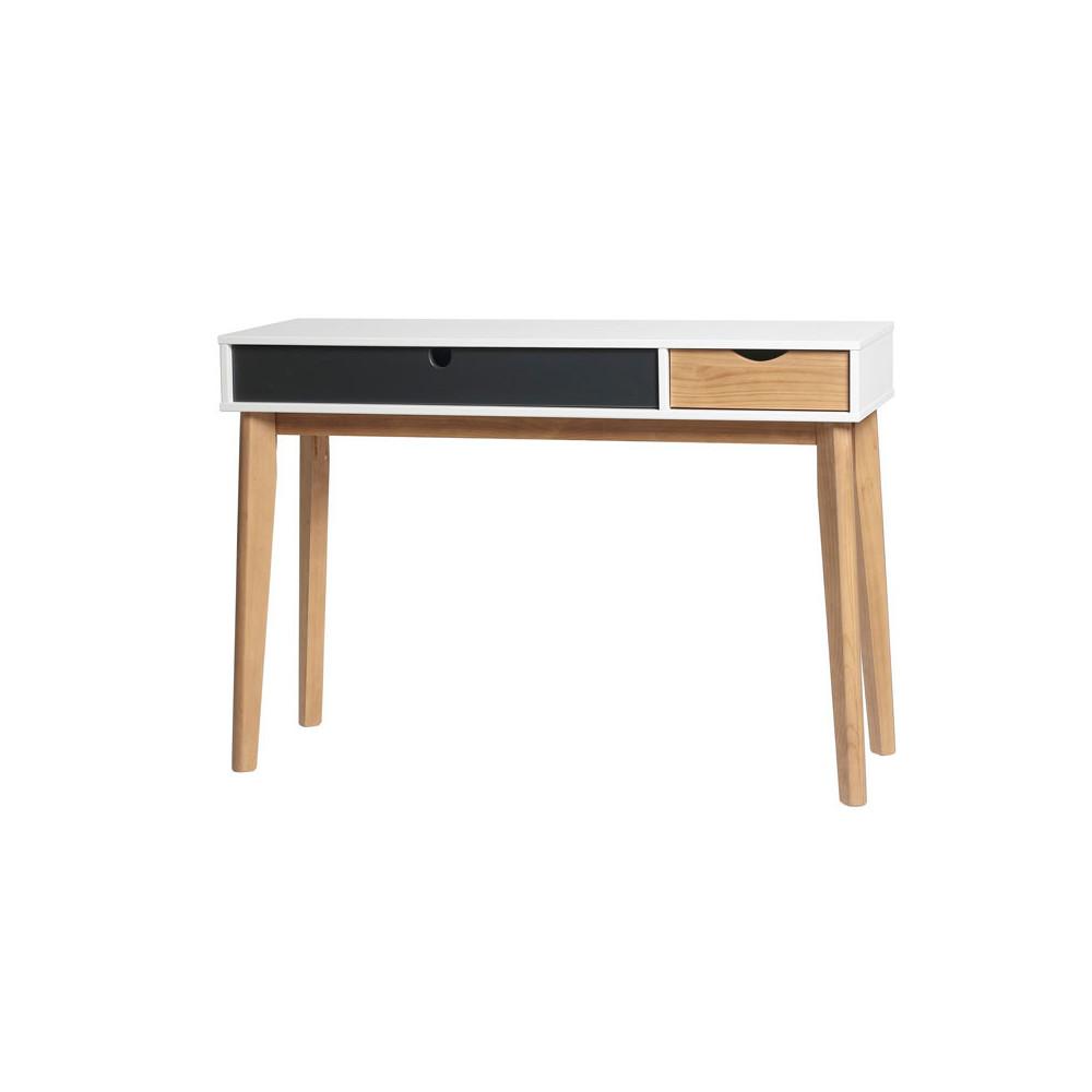 Console 2 tiroirs Gris/Blanc/Bois - COSMIT