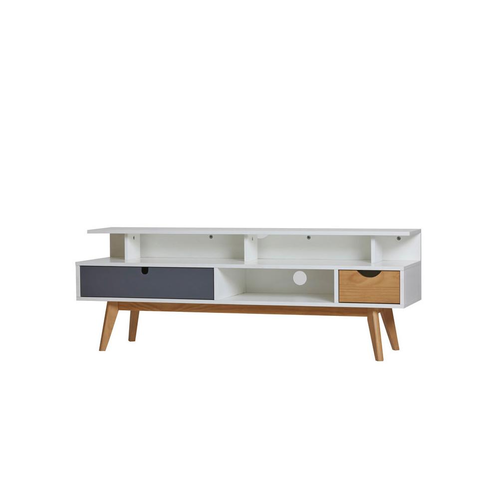 Meuble TV 2 tiroirs Gris/Blanc/Bois - COSMIT