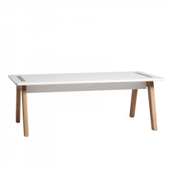 Table basse rectangulaire Blanc/Bois - CHACA