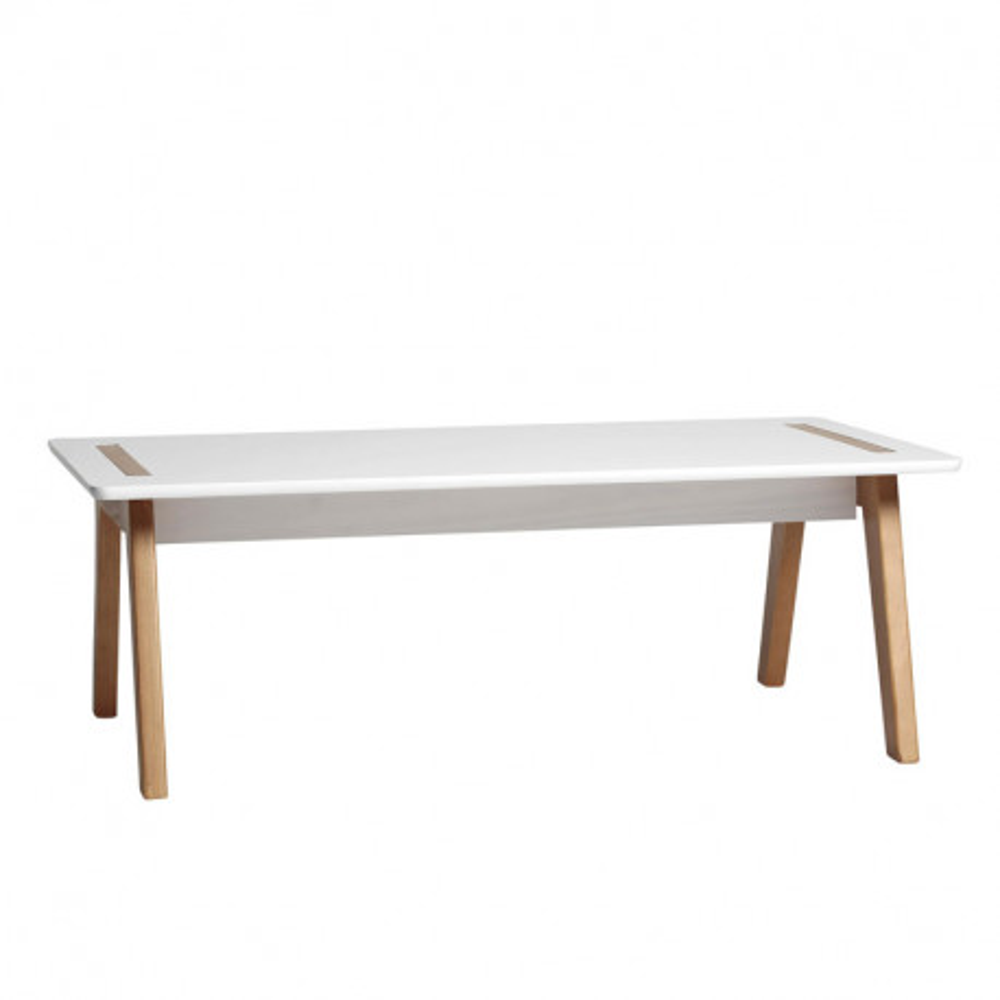 Table basse rectangulaire Blanc/Bois - CHACA