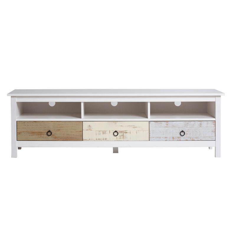 Meuble TV 3 tiroirs Bois blanchi - LYHANA