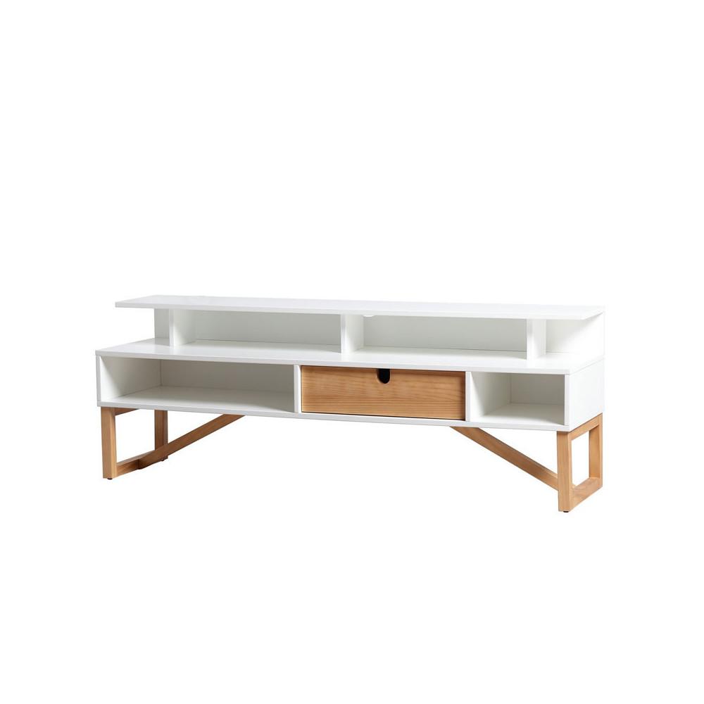 Meuble TV 1 tiroir 4 niches Blanc/Bois - MILAN