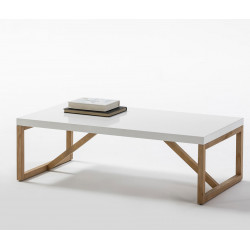 Table basse rectangulaire Blanc/Bois - MILAN