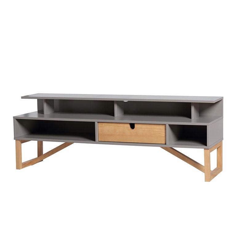 Meuble TV 1 tiroir 4 niches Gris/Bois - MILAN