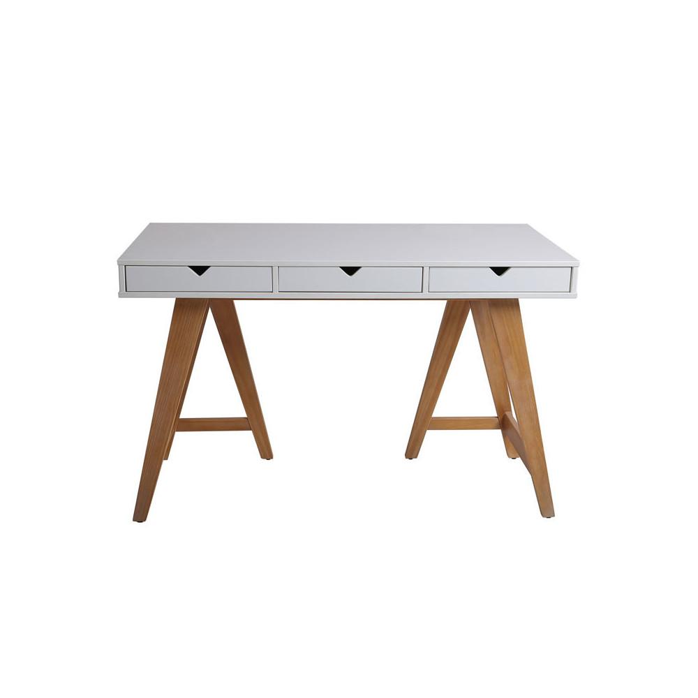 Bureau 3 tiroirs Blanc/Bois - BUCKY