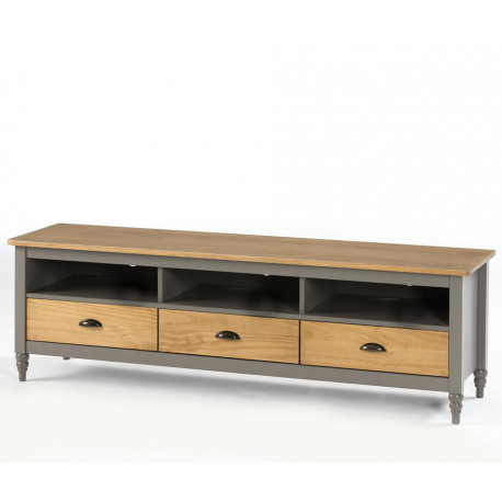 Meuble TV 3 tiroirs 3 niches Gris/Bois - CHANE
