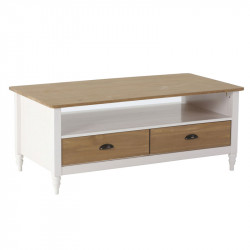 Table basse 2 tiroirs 1 niche Blanc/Bois - CHANE