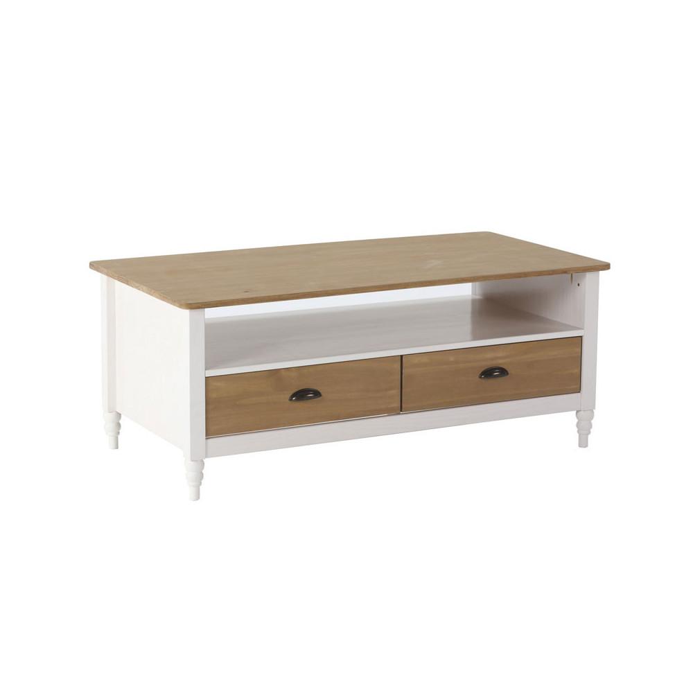 Table basse 2 tiroirs 1 niche Blanc/Bois - CHANE