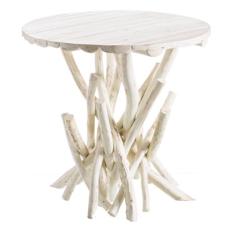Table de repas ronde Bois Blanc bord de mer branches - Univers Salle à Manger : Tousmesmeubles