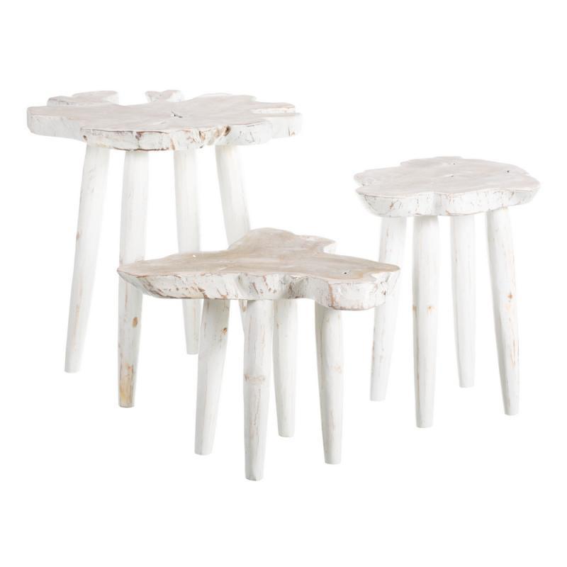 Trio de tables d'appoint Bois Blanc bord de mer - Univers Petits Meubles et Salon : Tousmesmeubles
