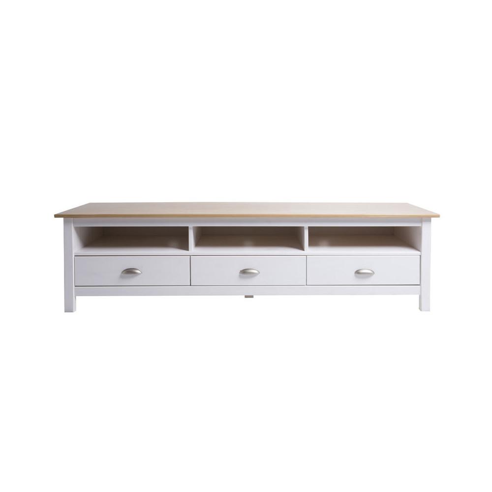 Meuble TV 3 tiroirs Blanc et Bois - EMIE