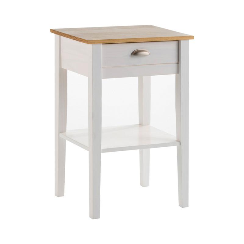 Bout de canapé 1 tiroir Blanc et Bois - EMIE