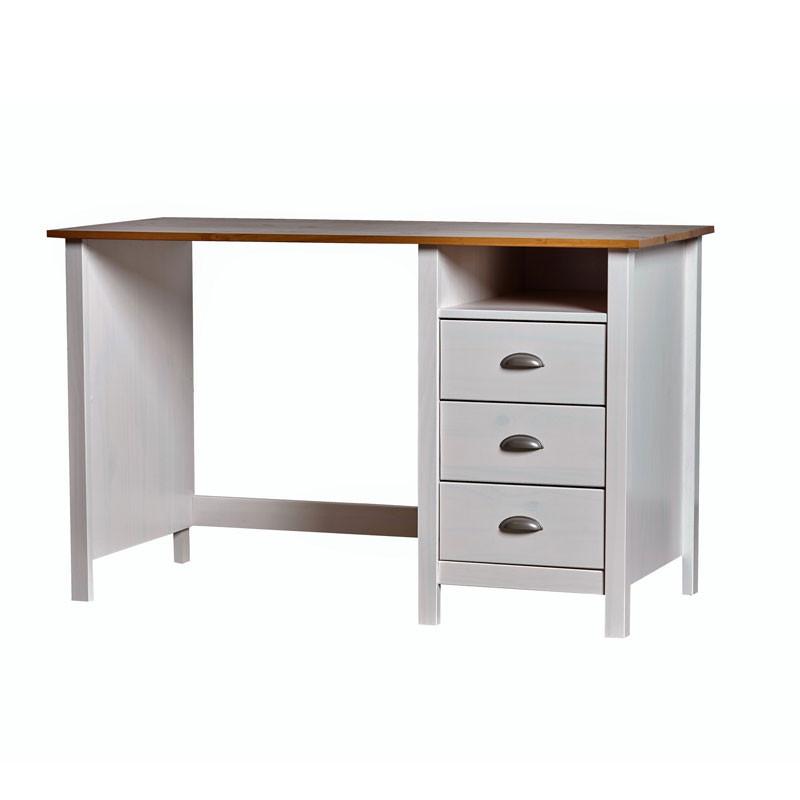 Bureau 3 tiroirs Blanc et Bois - EMIE