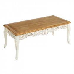 Table basse rectangulaire Bois Blanc romantique - Univers Salon : Tousmesmeubles