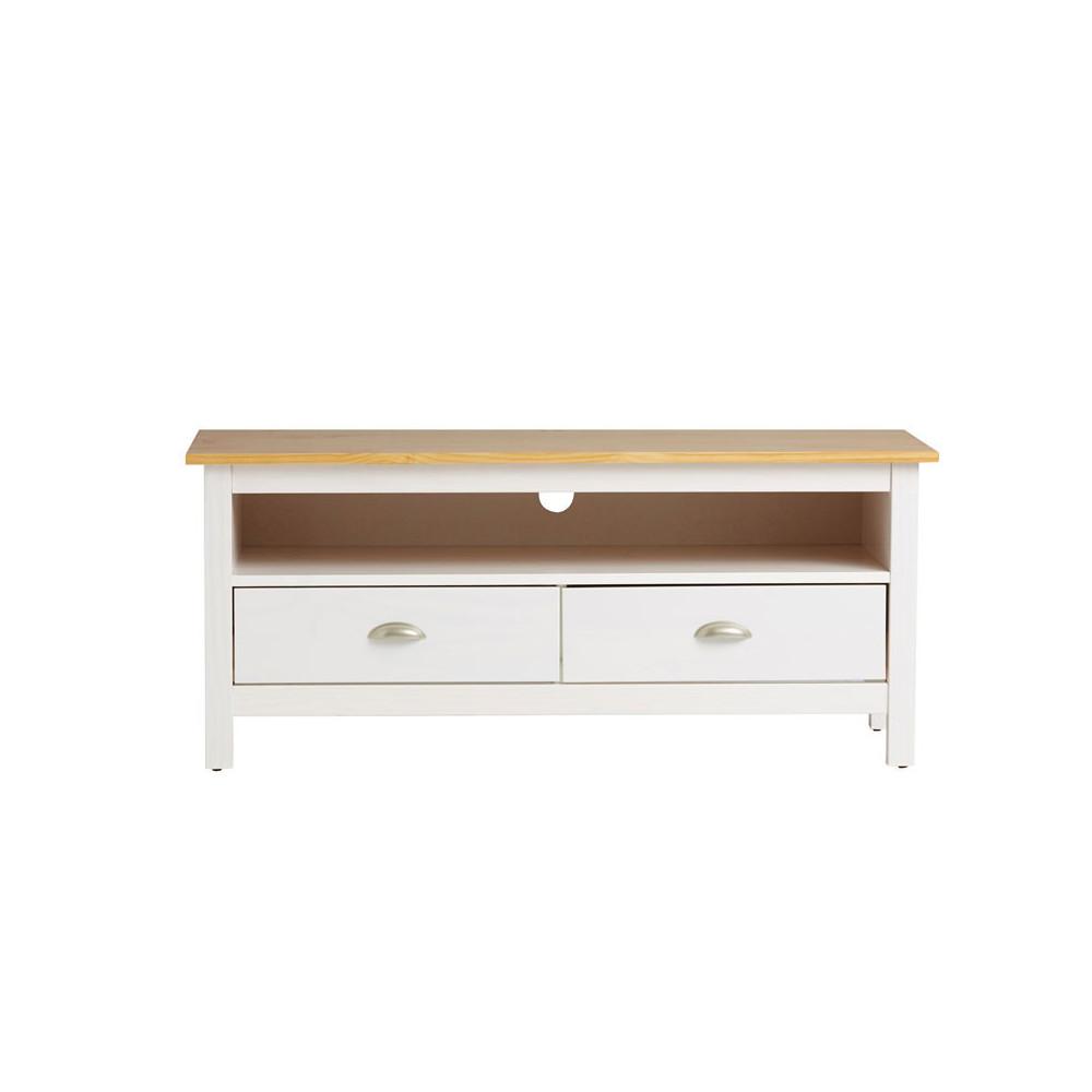 Meuble TV 2 tiroirs Blanc et Bois - EMIE