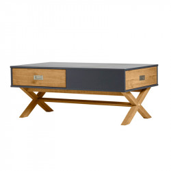Table basse 2 tiroirs Gris anthracite/Bois - RAPHY