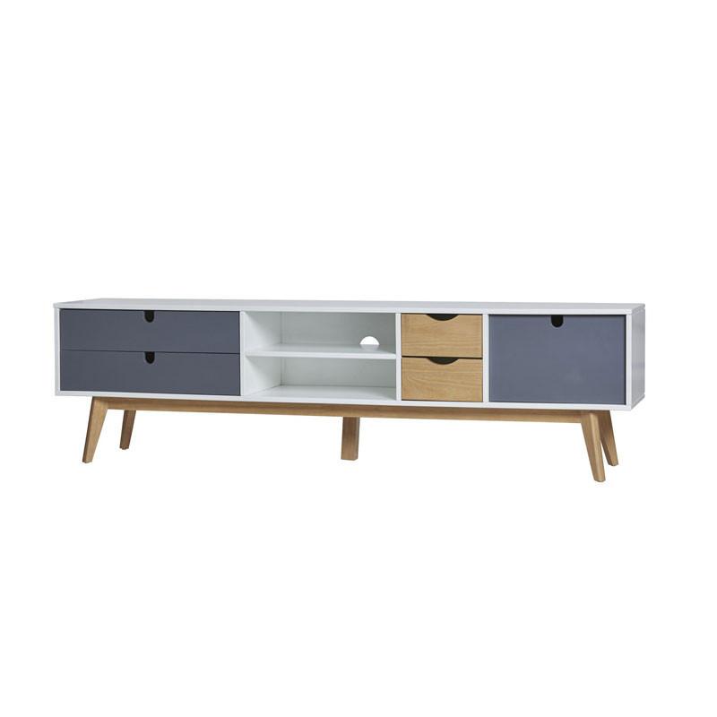 Meuble TV 4 tiroirs 1 porte Blanc/Bois/Gris - NANO
