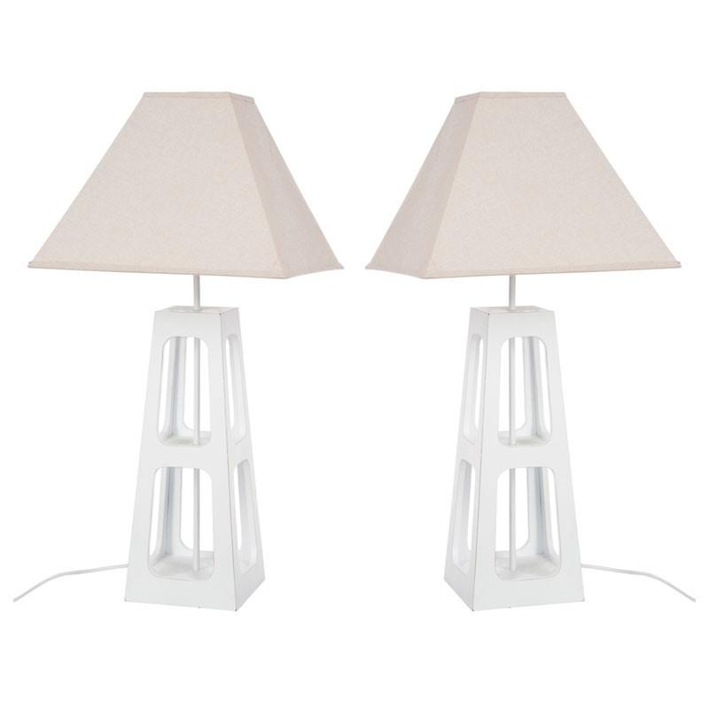Duo de lampes de chevet Bois blanc - CORNELIA