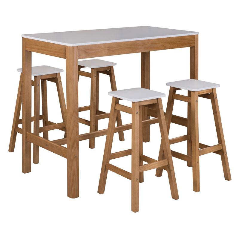 Table haute rectangulaire Blanc et Bois - GUZMAN